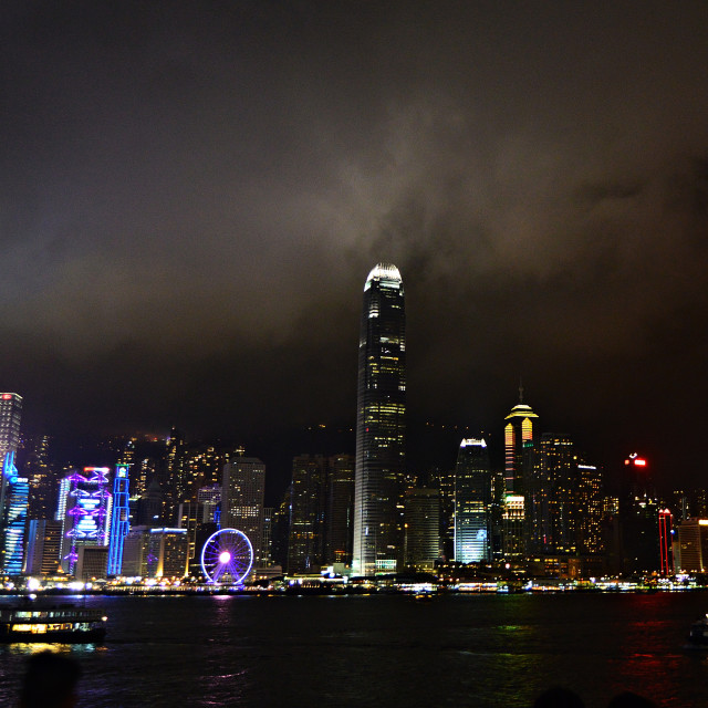 """Hong Kong Skyeline By Night 001"" stock image"