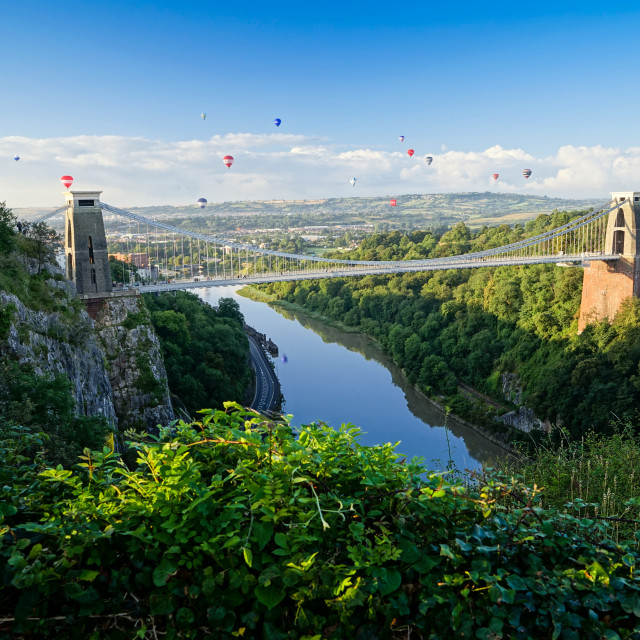 """Balloon Fiesta, Bristol Suspension Bridge"" stock image"