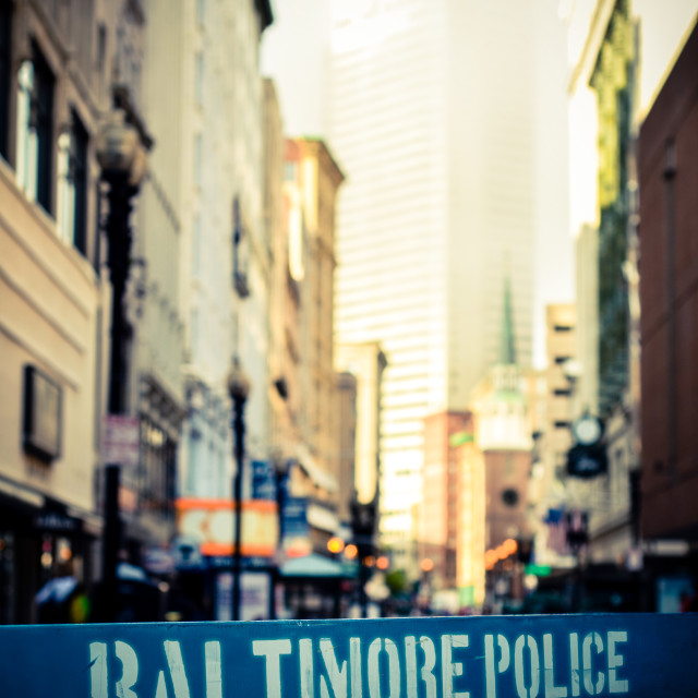 """""""Baltimore Police Barrier"""" stock image"""