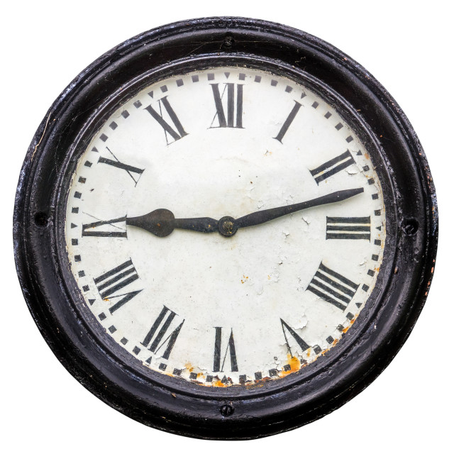 """""""Isolated Rustic Old Station Clock"""" stock image"""