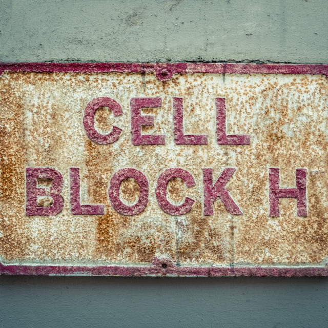 """""""Prison Cell Block Sign"""" stock image"""