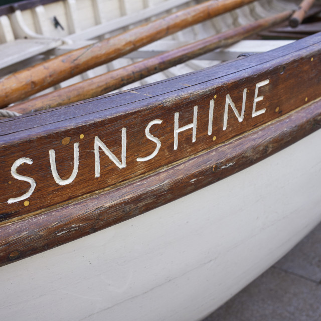"""Thames skiff boat Sunshine"" stock image"