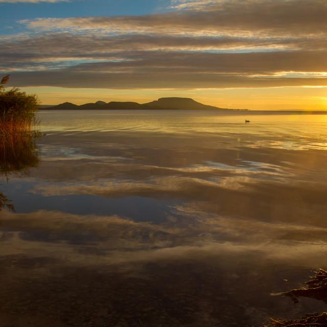 """""""Beautiful Hungarian sunrise landscape from a lake Balaton"""" stock image"""