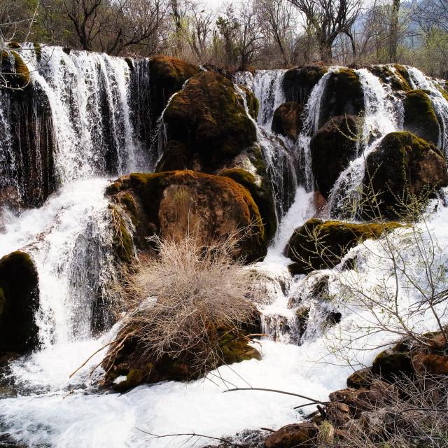 """Shuzheng Falls, Jiuzhaigou, China"" stock image"