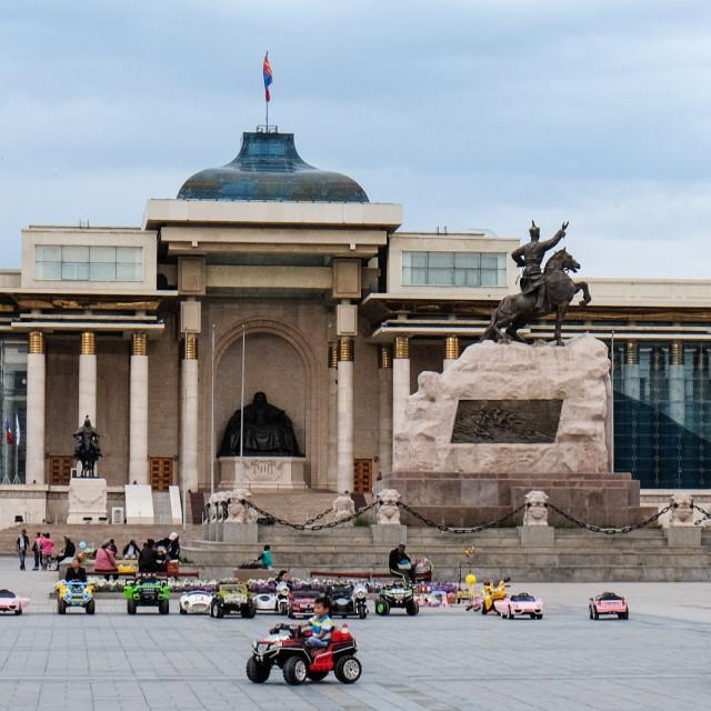 """Joyriding - Chinggis Khan Square, Ulaanbator, Mongolia 2"" stock image"