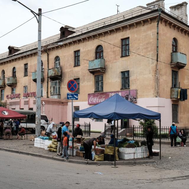 """""""Neighbourhood market - Ulaanbator Mongolia 1"""" stock image"""