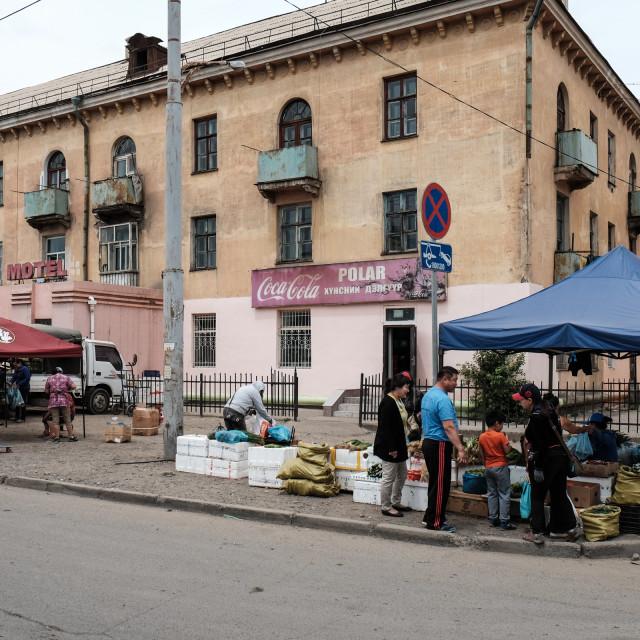 """""""Neighbourhood market - Ulaanbator Mongolia 2"""" stock image"""