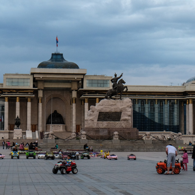 """Joyriding - Chinggis Khan Square, Ulaanbator, Mongolia 1"" stock image"
