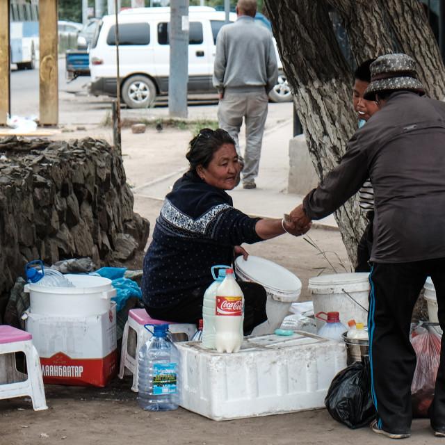 """Selling fermented mare's milk (airag) - Ulaanbator Mongolia"" stock image"
