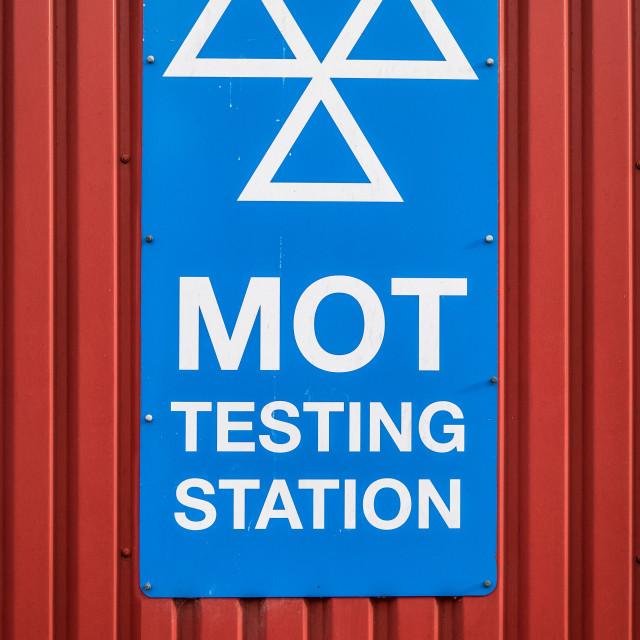 """MOT Testing Station Sign"" stock image"