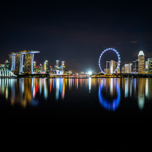 """Night scene at Marina Bay Singapore city skyline"" stock image"