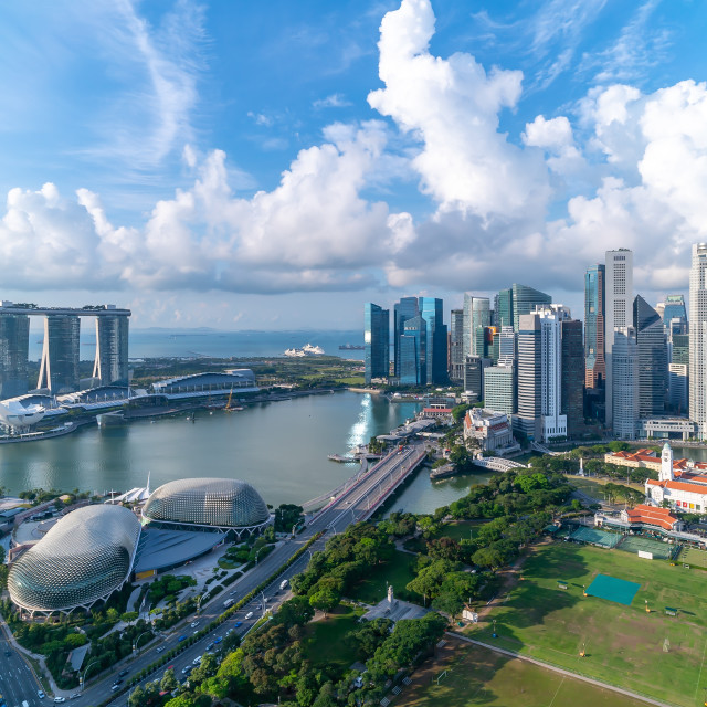 """Cloudy sky at Marina Bay Singapore skyline"" stock image"