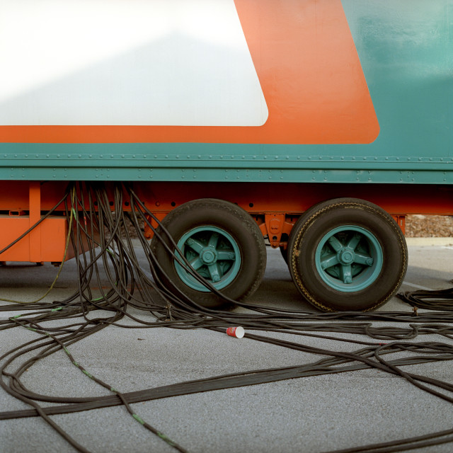 """Cables coming out of truck"" stock image"