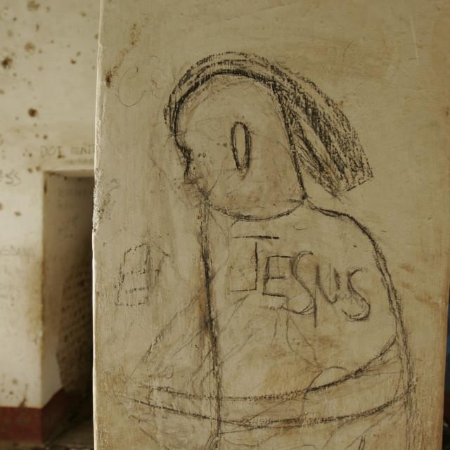 """Jesus mural inside mosque"" stock image"