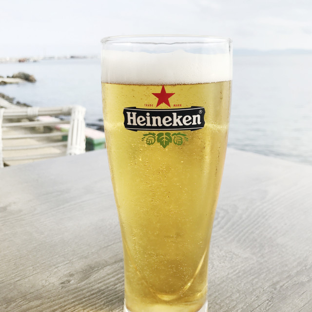 """Pomorie, Bulgaria - May 19, 2018: Heineken Lager Beer produced by the Dutch..."" stock image"