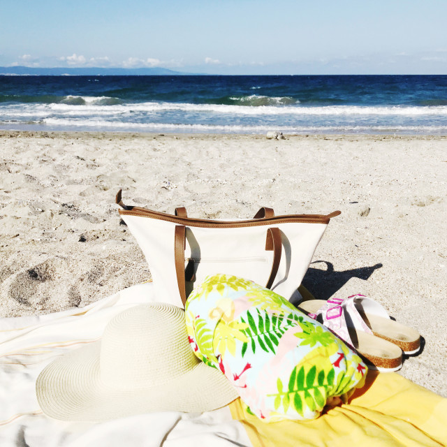 """Beach bag with accessories"" stock image"
