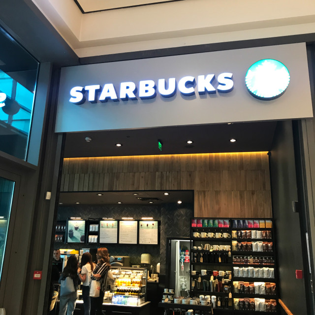 """Burgas, Bulgaria - May 18, 2018: Starbucks store in Mall Galleria Burgas...."" stock image"