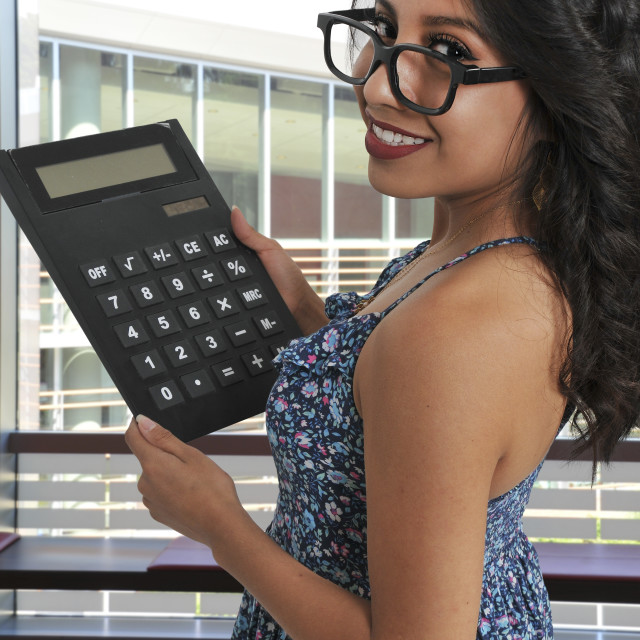 """Woman using oversized calculator"" stock image"