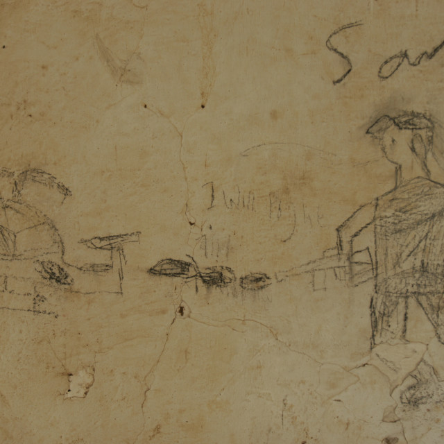 """""""Hand drawn picture on wall of war"""" stock image"""