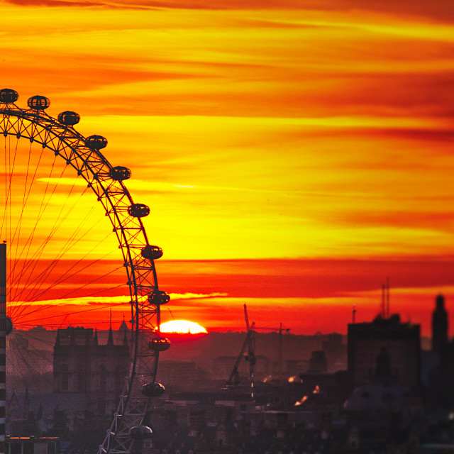 """London Eye Sunset"" stock image"