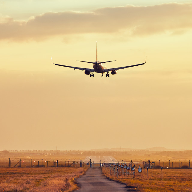 """Landing at the sunset"" stock image"
