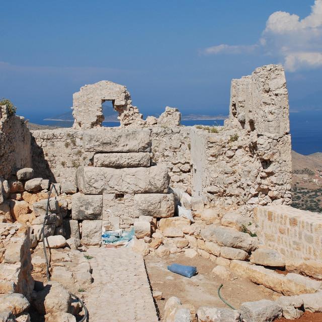 """Crusader castle, Halki island"" stock image"