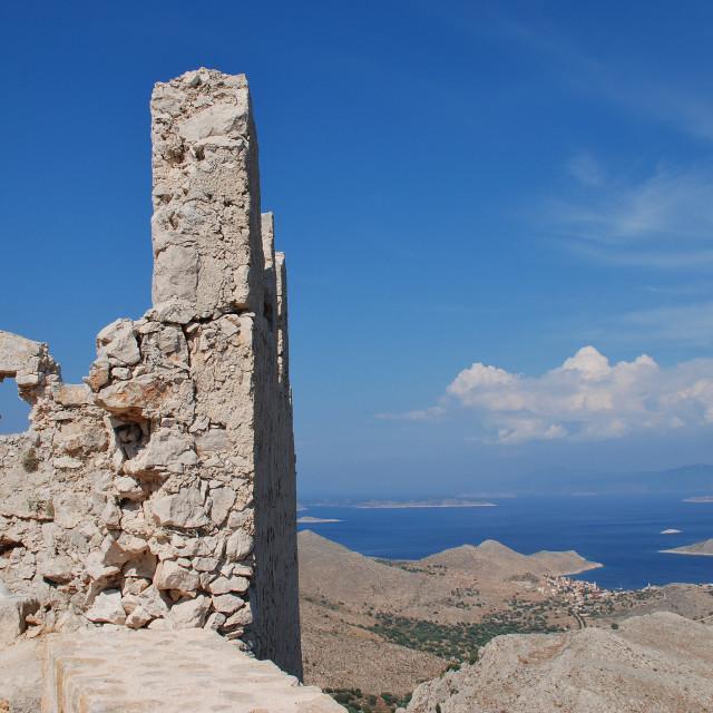 """Halki Crusader castle, Greece"" stock image"