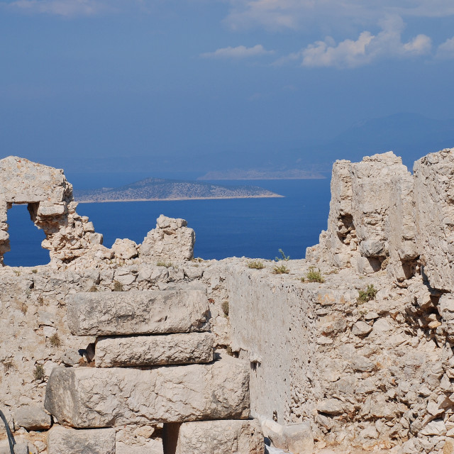 """Crusader castle ruins, Halki"" stock image"
