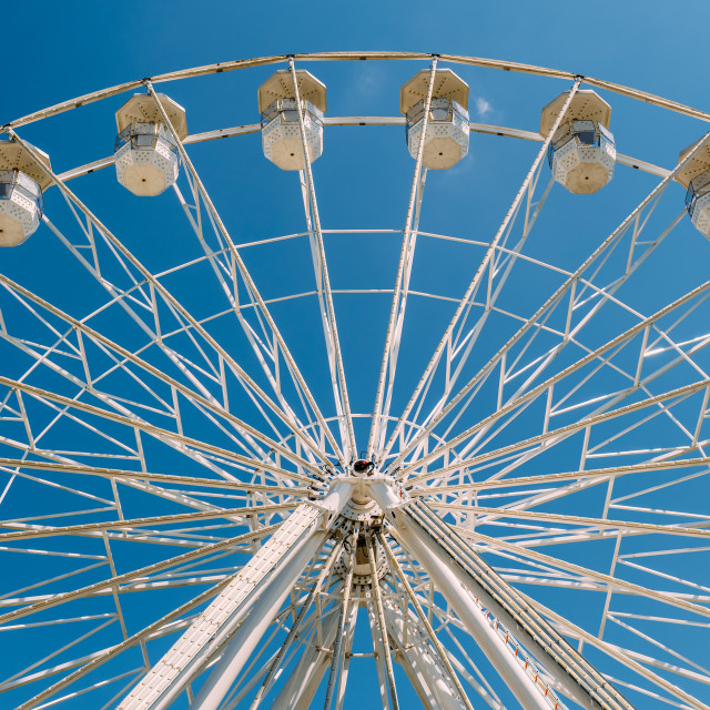 """White Ferris Wheel On Summer Blue Sky In Fun Park"" stock image"
