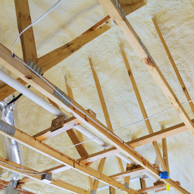 """attic renovation and thermal Insulation"" stock image"