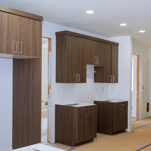 """Home Improvement Kitchen Remodel view installed"" stock image"