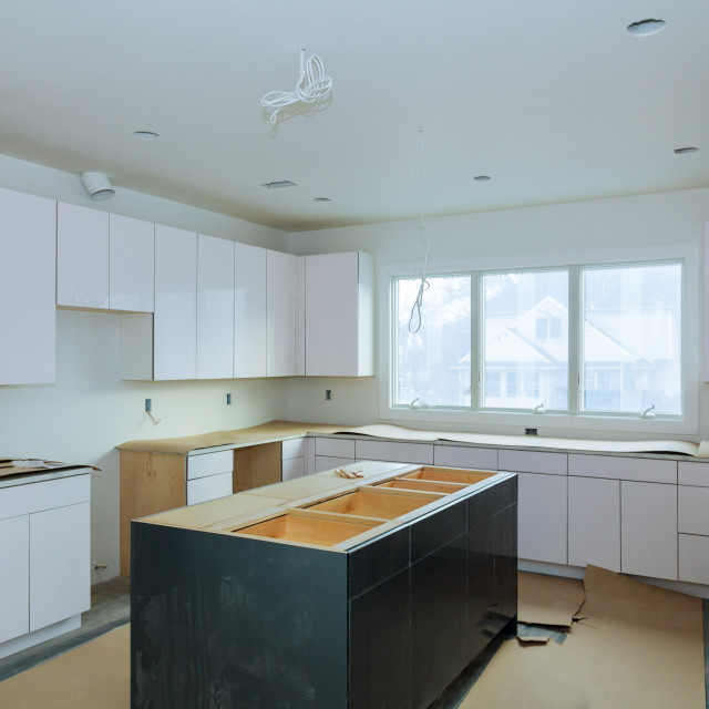 """Home Improvement Kitchen Remodel worm's view installed"" stock image"