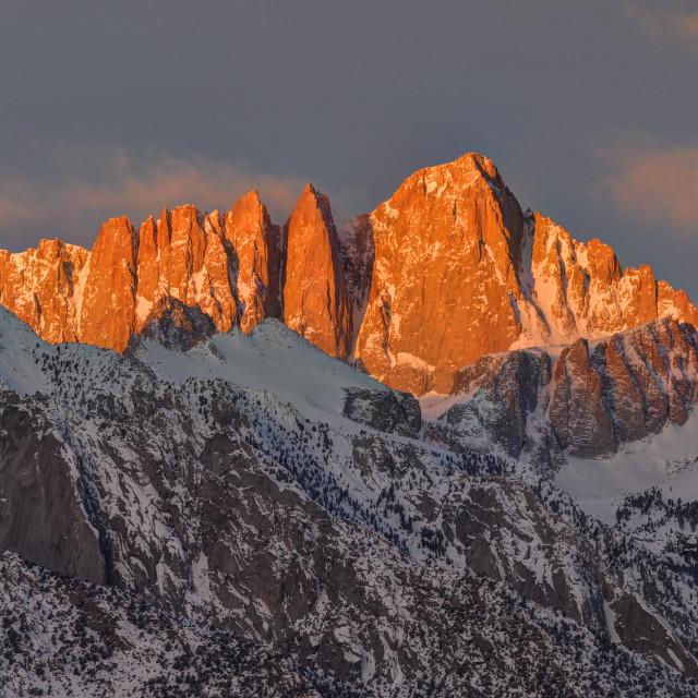 """Mount Whitney Alpenglow"" stock image"