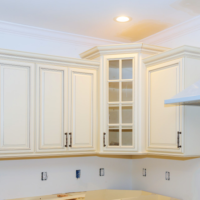 """New home kitchen interior cabinets Home Improvement Kitchen Remodel"" stock image"