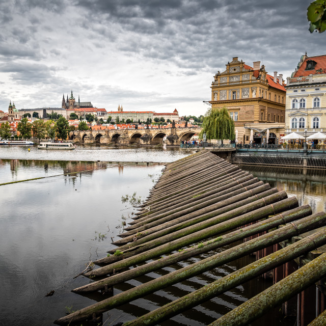 """Cityscape of Prague and river"" stock image"