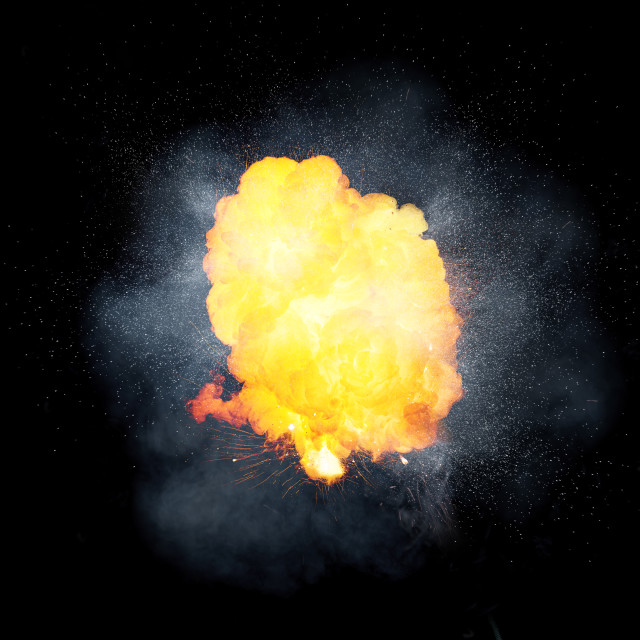 """Realistic fiery explosion, orange color with sparks and smoke"" stock image"