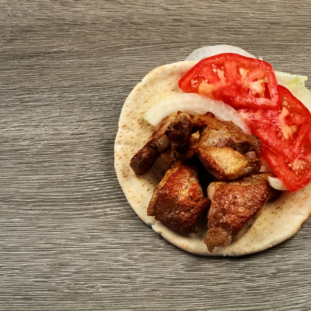 """""""Greek souvlaki with pita bread and vegetables close-up on the table. Pork table"""" stock image"""