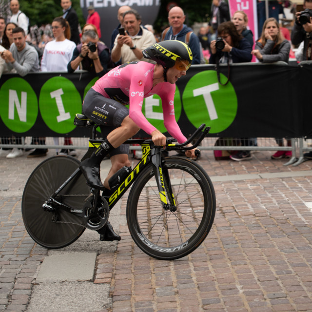 """Simon Yates, Pink jersey, Giro D'Italia, 2018, Time Trial"" stock image"