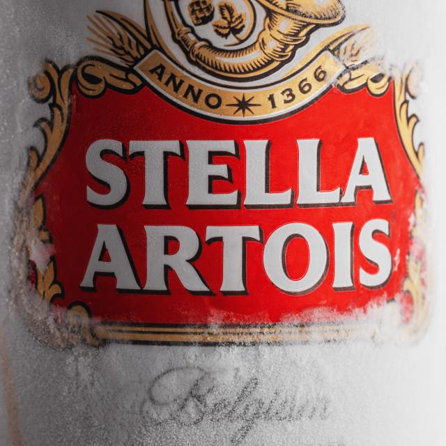 """Varna,Bulgaria - May 28, 2018: Alluminium can of Stella Artois b"" stock image"