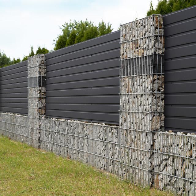 """Modern gabion wall."" stock image"