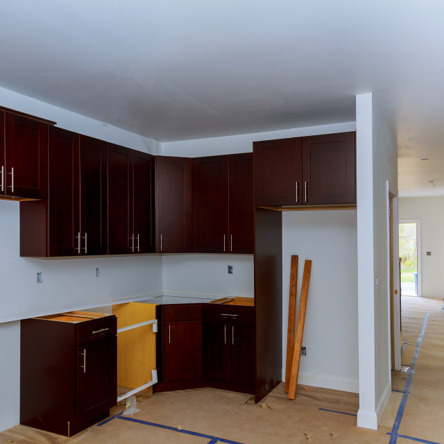 """working on new kitchen cabinets Home Improvement Kitchen Remodel"" stock image"