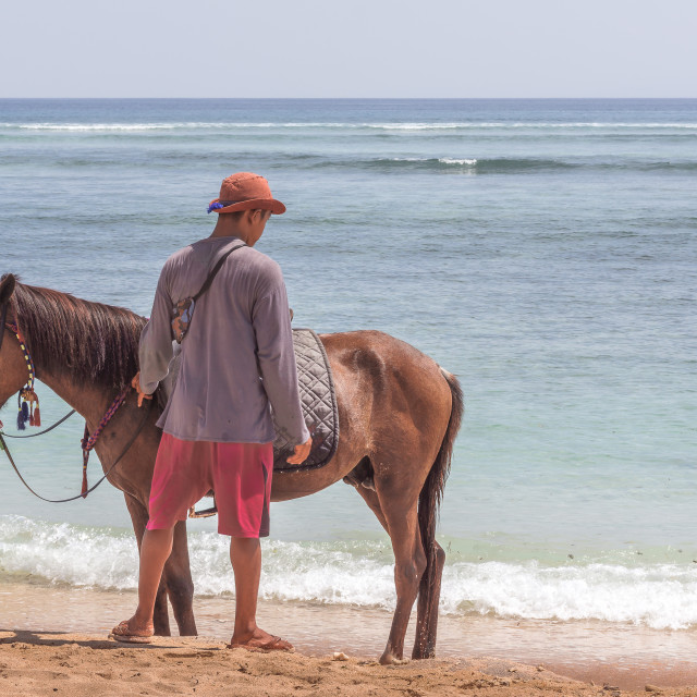 """""""A man and his horse standing alone on the beach"""" stock image"""