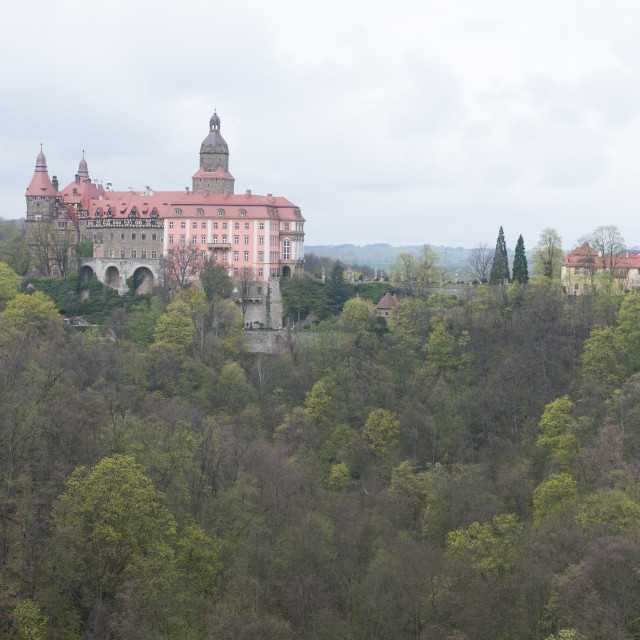 """Panorama View of Ksiaz Furstenstein castle near Walbrzych in Poland"" stock image"