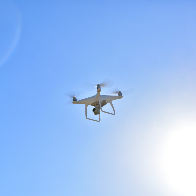"""""""Professional drone with camera flying general view"""" stock image"""