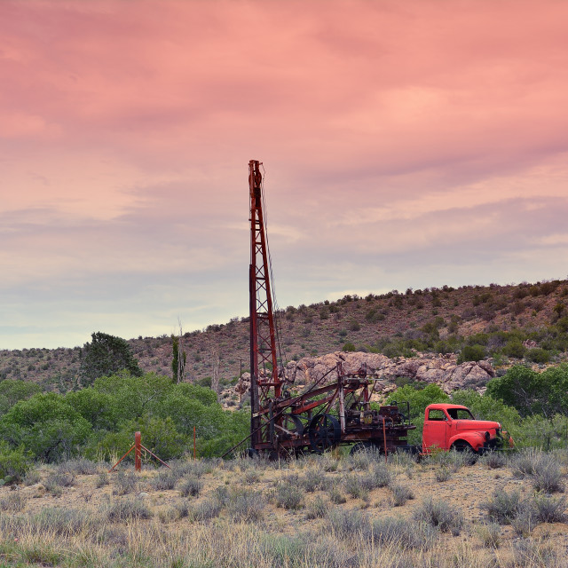 """Groundwater hole drilling machine in Arizona."" stock image"