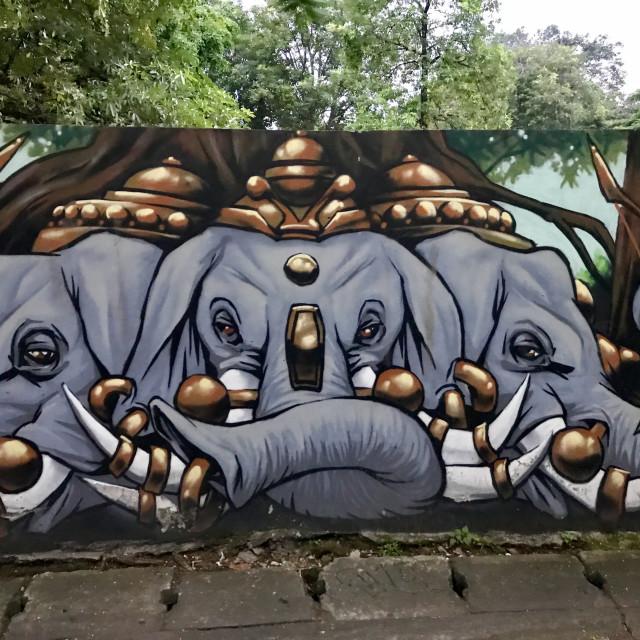 """Chiang Mai Elephants"" stock image"
