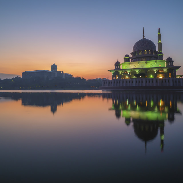 """Beutiful Sunrise at Putra Mosque, Putrajaya"" stock image"