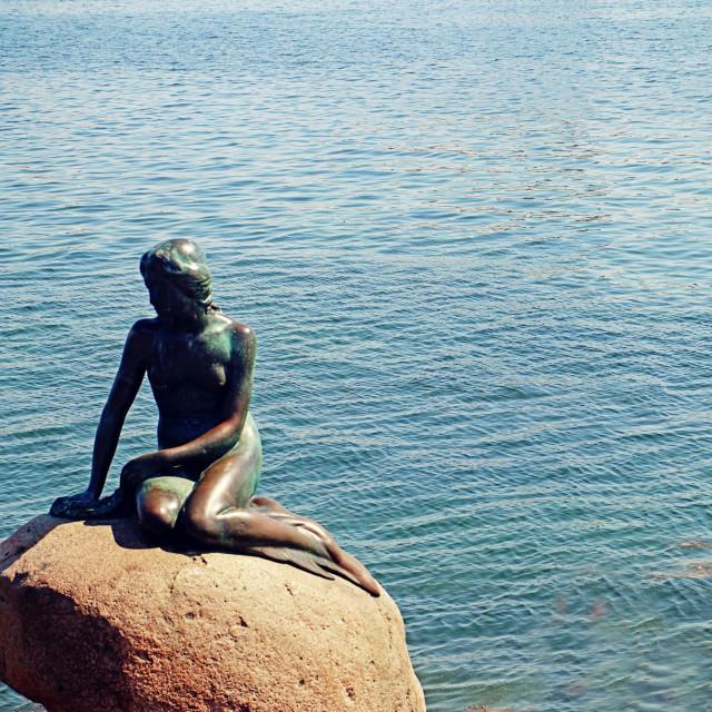 """""""COPENHAGEN, DENMARK - The Little Mermaid statue at the entrance of Copenhagen harbor"""" stock image"""
