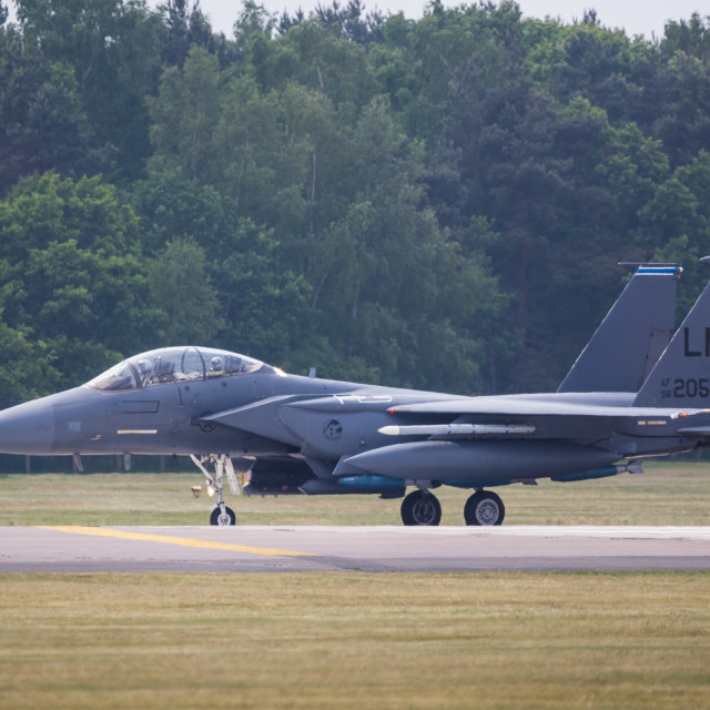 """""""Strike Eagle slows on the runway"""" stock image"""