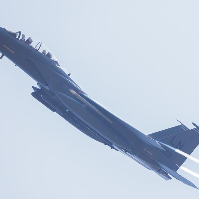 """""""F-15E Eagle reaches for the sky"""" stock image"""